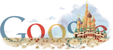 Google Logo: 450th Anniversary of St. Basil's Cathedral - Built in Moscou under Ivan the Terrible's reign
